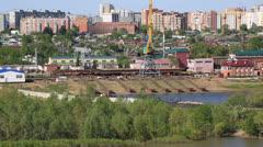 Repair plant inland waterway vessels. Stock Footage