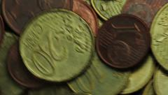European eurocents rotating on a plate g130004 Stock Footage