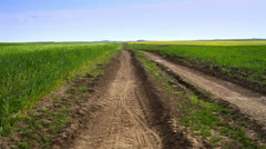 road, field and blue sky - stock footage