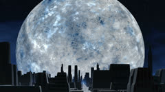 Huge silver moon and city of aliens Stock Footage