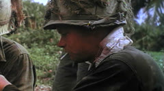 1st Cavalry Division, Soldiers smoking, Vietnam, 1966 Stock Footage