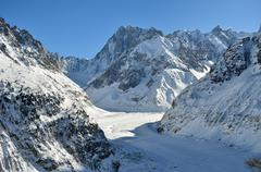 the mer de glace, sea of ice in chamonix, france - stock photo