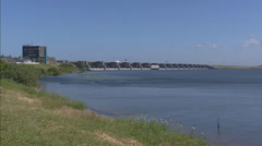 Dutch Delta Works hold + pan Haringvliet Dam + New Waterway Stock Footage