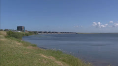 Dutch Delta Works hold + zoom Haringvliet Dam + New Waterway. Stock Footage