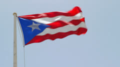Puerto Rican Flag Flying in San Juan Puerto Rico Stock Footage