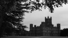 Highclere Castle in B&W, hunting atmos sound (3) Stock Footage