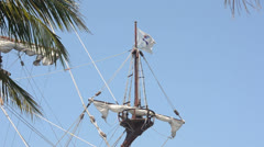 Old pirate ship nose view - stock footage