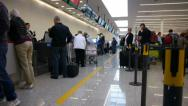 Stock Video Footage of Airport terminal day. Passengers check in area