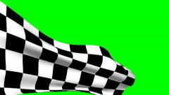 Checkered flag on green screen Stock Footage