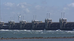 Storm surge barrier of the Oosterschelde, Delta works Stock Footage