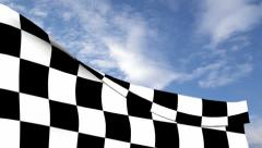 Checkered flag against blue sky - stock footage