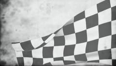 Checkered flag old film Stock Footage