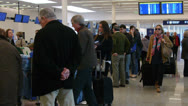 Airport terminal day. Wide shot. Passengers check in area Stock Footage