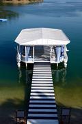 Relaxation building near beach on mediterranean turkish resort, fethiye, turk Stock Photos