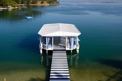 relaxation building near beach on mediterranean turkish resort, fethiye, turk - stock photo