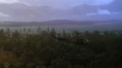 1st Cavalry Division, Huey in flight, Vietnam, 1966 Stock Footage