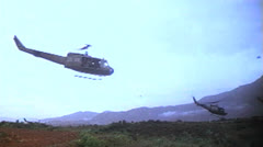 1st Calvary, Vietnam, Hueys, 1966 Stock Footage