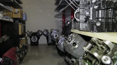 Engines of bike in storage Stock Footage