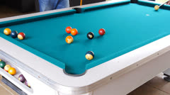 Pool table billiard eight-ball Stock Footage