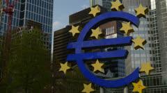 Euro symbol Frankfurt Stock Footage