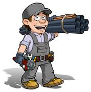 Stock Illustration of handyman - plumber gray