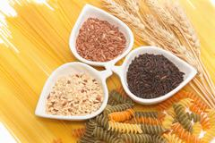 pasta and rice ,group of carbohydrate products - stock photo