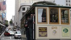Famous Crowded Transportation, San Fran Tram Ride in a Trolley Cable Street Car - stock footage