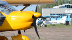 Aircraft on the airfield Stock Footage