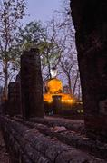 buddha statue in sukhothai historical park - stock photo