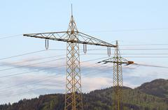 High-voltage towers Stock Photos