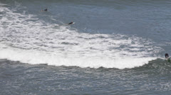 Group of Surfers enter to Surfing in the Ocean, Waves Crashing, Jagged Rocks Stock Footage