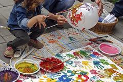 child draw a balloon - stock photo