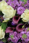 Purple and white bridal arrangement Stock Photos