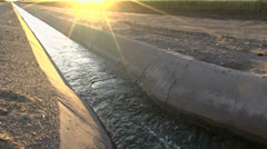 Irrigation Water Canal Sunset Stock Footage