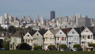 Stock Video Footage of San Francisco Skyline, Famous Victorian Row Houses, Painted Ladies, by day