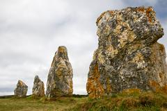 Menhir alignment in brittany, france Stock Photos