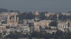 Crowded Building San Francisco Bay Aerial View Skyline Downtown Cityscape Church - stock footage