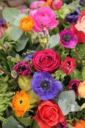 wildflower arrangement in bright colors - stock photo