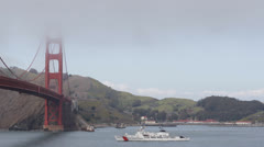 Coast Guard Patrol in San Francisco Bay Area, Golden Gate Bridge, Military, USGC Stock Footage