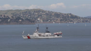 Military, USGC, Security, Coast Guard Patrol in San Francisco Bay, Golden Gate Stock Footage