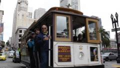 Tourists, Historic Route Transportation, San Francisco Tram Tour in a Cable Car Stock Footage