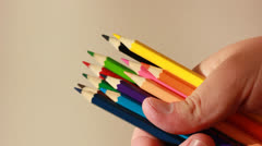 Set Of Colorful Wooden Pencils For Drawing Stock Footage
