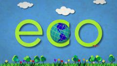 Illustrated ECO title sequence Stock Footage