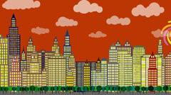 City Sunset animation Stock Footage