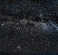 perseid meteors on the milky way - stock photo