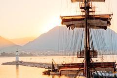 Mast frigate amid bay of Alanya. - stock photo
