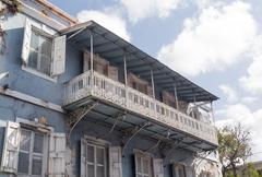 old house in charlotte amalie st thomas - stock photo