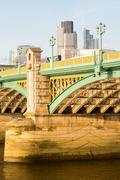 underneath southwark bridge in london - stock photo