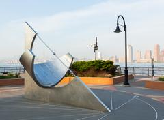 Equatorial sundial at jersey city exchange place Stock Photos