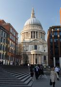 st pauls cathedral church london england at dusk - stock photo